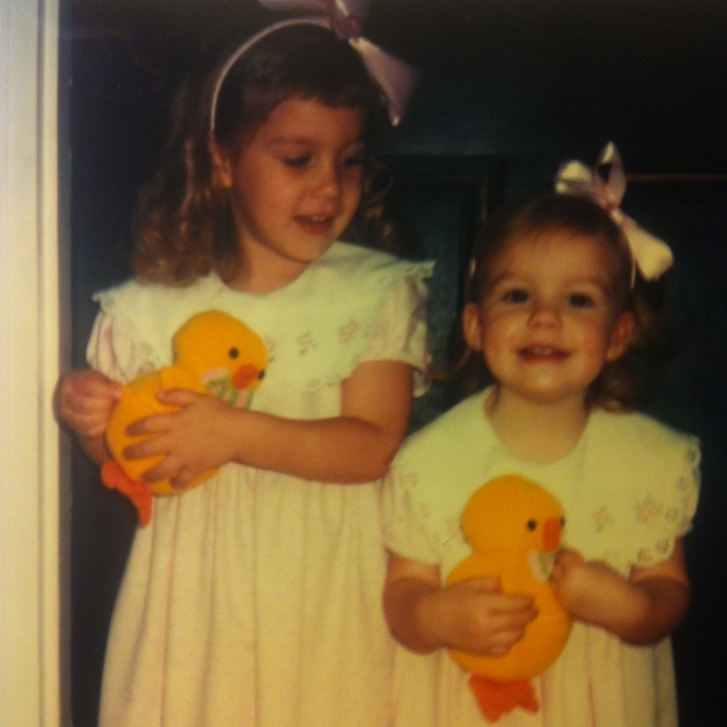 two young girls in matching easter dresses