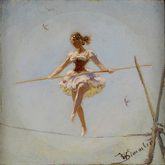 painting of a woman walking on a highwire