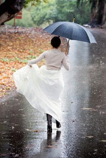 wedding dress, umbrella