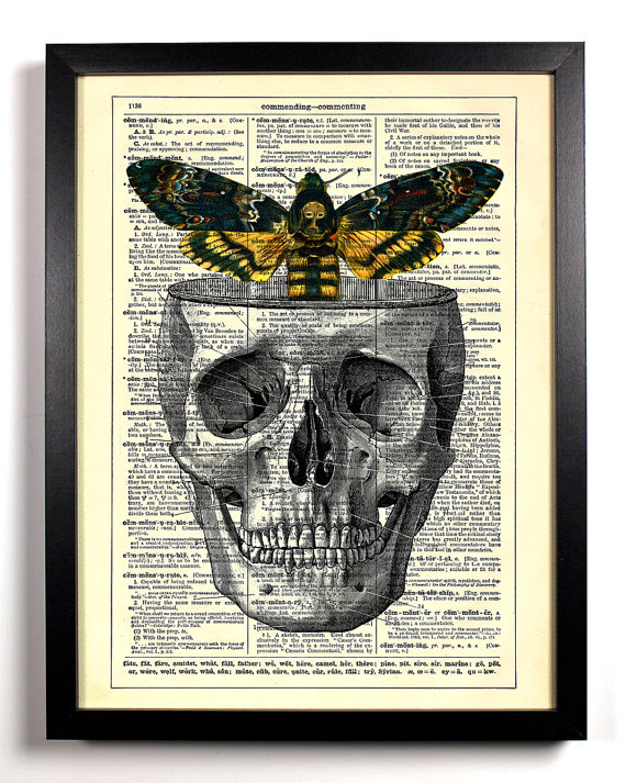 skull with moth repurposed art