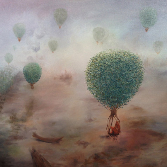 Trees Uprooted as Hot Air Balloons Print
